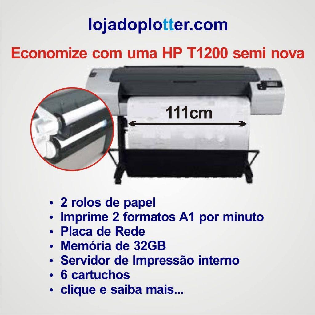 Plotter usada HP T1200 com 2 rolos. Excelente estado aproveite!