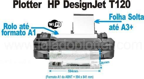 A HP Designjet T120 é uma impressora de grande formato, Plotter, que imprime até 61cm de largura, ou 24 polegadas, em rolo de papel. Esta largura de impressão é suficiente para imprimir o formato A1 da ABNT, ou seja ela imprime os formatos A4, A3, A2 e A1. Tem uma bandeja até formato A3+ para folha solta