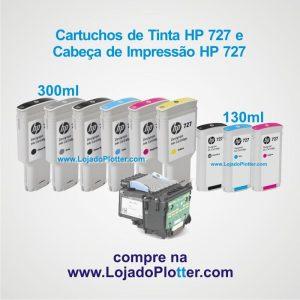 Cartuchos de Tinta HP 727 de 300ml e de 130ml e Cabeçote de Impressão HP 727 para Plotter