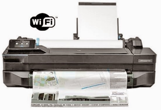 a impressora HP T120 com o rolo de papel e a alimentação por folha solta