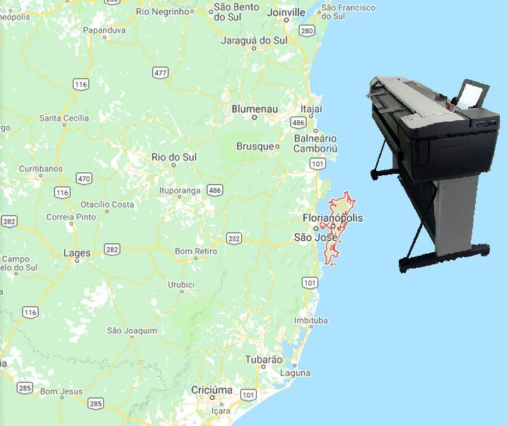 Loja do Plotter entregou mais um Plotter multifunção HP Designjet T830 em Florianópolis SCMais um plotter com scanner A0 pronto para uso em Santa Catarina