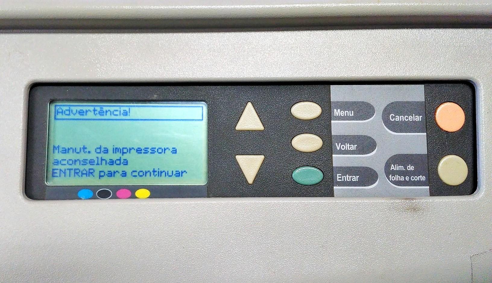 Manutenção da Impressora Aconselhada no painel da sua Plotter HP