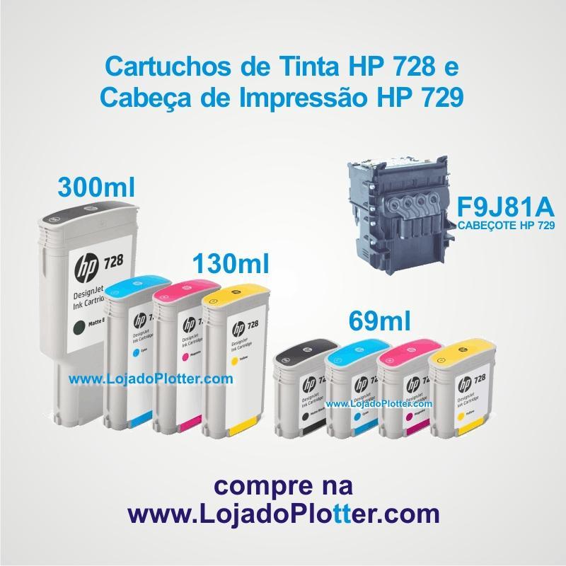 Cartuchos de Tinta HP 728 e Cabeçote de Impressão HP 729