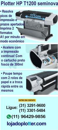 Economize com esta excelente impressora de grande formato, HP T1200, que imprime até 111 cm de largura, dois rolos de papel com troca fácil, seis cartuchos de tinta e cartucho preto fosco com opção de 130ml ou 300ml