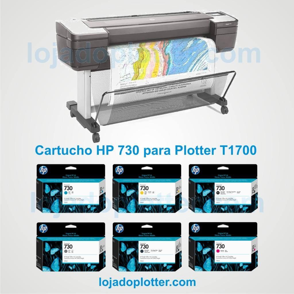 Cartuchos de Tinta HP 730 P2V62A e P2V68A (Ciano),  P2V63A e P2V69A (Magenta), P2V64A e P2V70A (Amarelo), P2V65A e P2V71A (Preto Fosco), P2V66A e P2V72A (Cinza) e P2V67A e P2V73A (Preto Fotográfico) para Plotter HP T1700