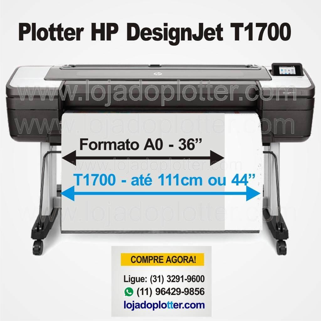 A Plotter T1700 é a Impressora HP DesignJet mais potente e segura para grupos de trabalho de CAD/GIS, voltada para área de Engenharia e Arquitetura, com 1 ou 2 rolos de papel até 111cm de largura e 6 cartuchos de Tinta