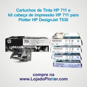 Cartuchos e Cabeça de impressão HP 711 para a plotter HP T530