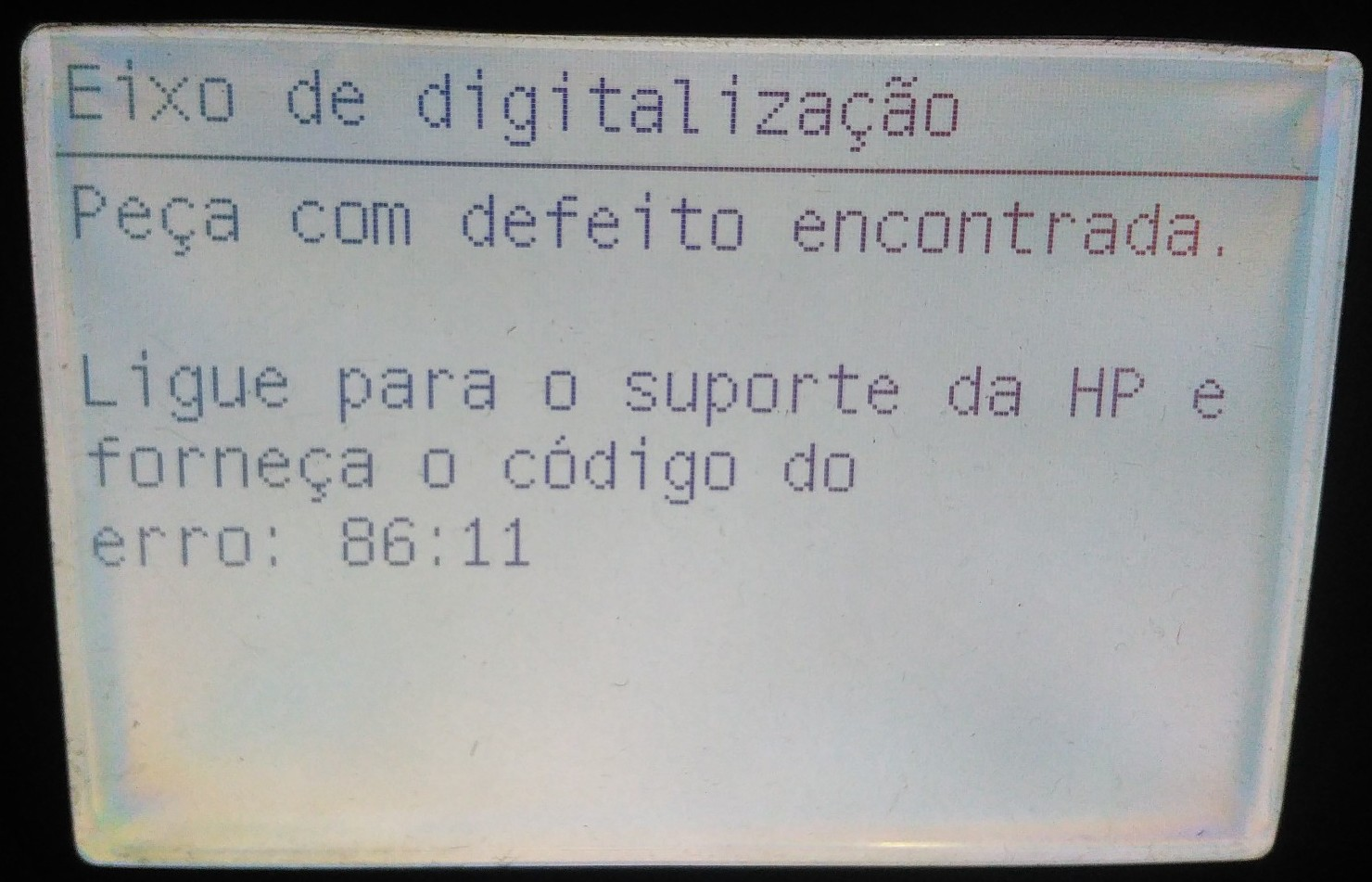 Mensagem de erro na Impressora Plotter 86:11 Peça com defeito encontrada. Ligue para o suporte da HP e forneça o código do erro: 86:11