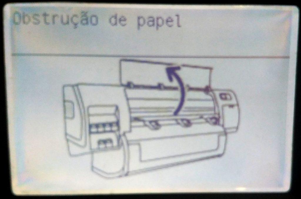 Mensagem no painel de plotter HP: Obstrução de Papel