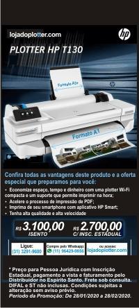 Impressora Plotter HP Designjet T130 por R$ 2.700,00 em oferta! Clique e saiba as condições! Poucas unidades. Promoção válida até 28/02/2020 ou enquanto durarem os estoques