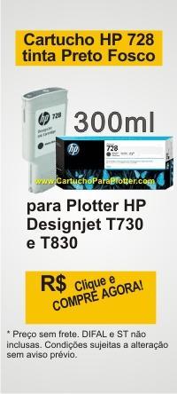 Cartucho de Tinta HP 728 - Tinta cor Preto Fosco (MK) 300 ml - F9J68A para Plotter HP T730 e T830
