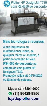 A sua impressora ou multifuncional usada, de qualquer marca ou modelo, a partir do tamanho A3 vale um Descontão na compra de uma HP DesignJet T730