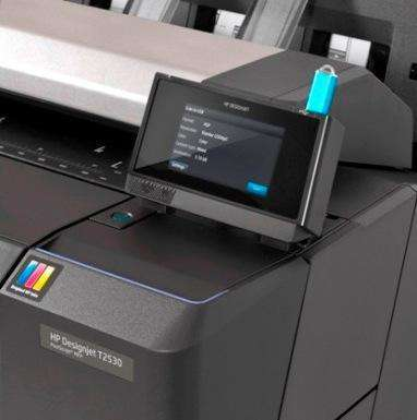 "Tela ""TouchScreen"" da Plotter HP Designjet T2530"