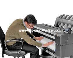 O rolo de mídia de carregamento frontal. Carregamento do Rolo 2 da Impressora Plotter HP Designjet T1500