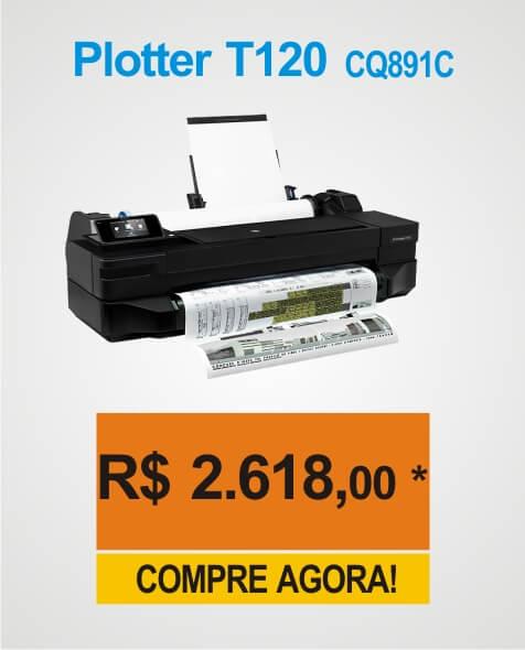 Promoção de Arassar da Impressora Plotter HP Designjet T120. Compre já a sua T120!